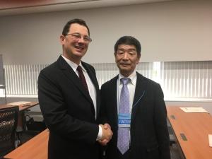 Skymark's Shinichi Kitamura and ASA's Jason Dickstein reconnect over 8130-3 tags in Tokyo.